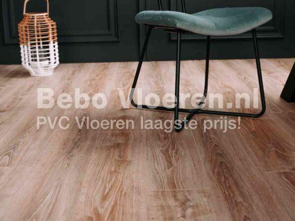 Rustiek landelijk bruin PVC-vloer verlijmbaar i.c.m. plint + onderhoudsset