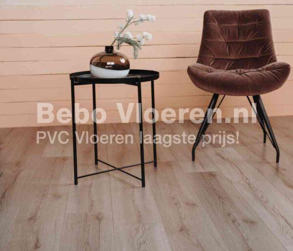 Landelijk bruine PVC-vloer verlijmbaar i.c.m. plint + onderhoudsset