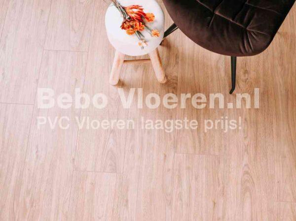 Warm beige PVC-vloer verlijmbaar i.c.m. plint + onderhoudsset