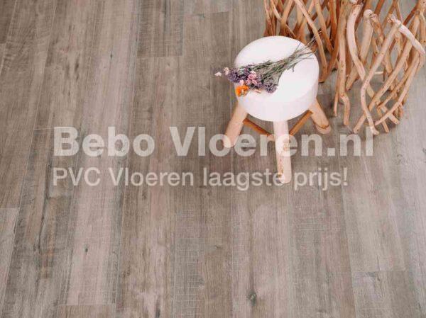 Donkere bruingrijze PVC-vloer verlijmbaar i.c.m. plint + onderhoudsset